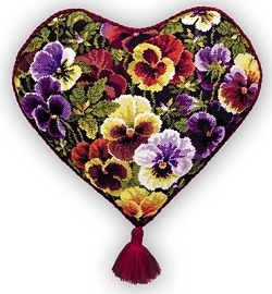 Pansy Heart Cushion. Two of my favourite themes in one project - hearts and pansies - lovely! Curleytop1.
