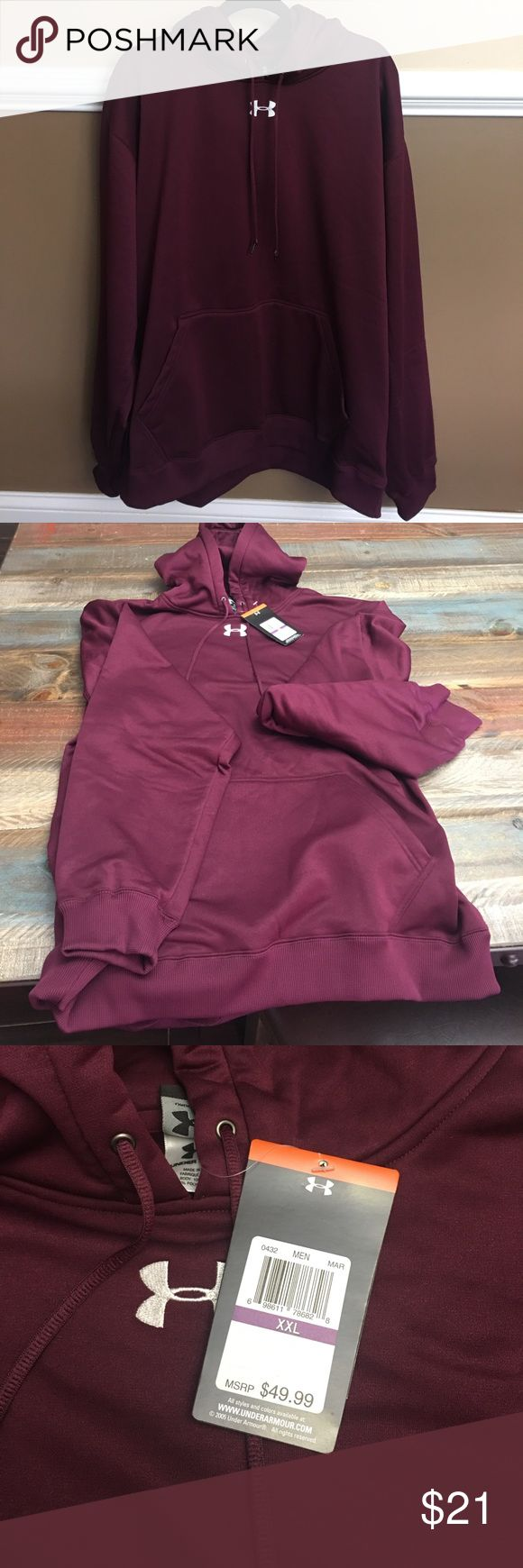 Men's New  Under Armour all season pullover hoodie Brand New Men's Under Armour Burgundy/ Wine colored pullover hoodie Under Armour Shirts Sweatshirts & Hoodies