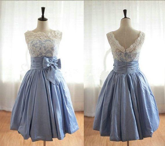 Lace Homecoming Dress, Ball Gown Bateau Short Taffeta and Lace Bridesmaid Dress