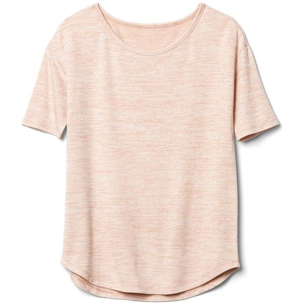 Gap Women Softspun Knit Half Sleeve Tee ($31) ❤ liked on Polyvore featuring tops, t-shirts, shirts, pink tee, knit tee, gap tees, elbow sleeve tee and elbow length tee