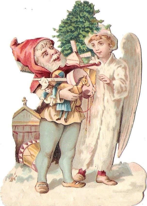 Oblaten Glanzbild scrap die cut chromo Winter Engel angel XMAS tree Zwerg  dwarf: