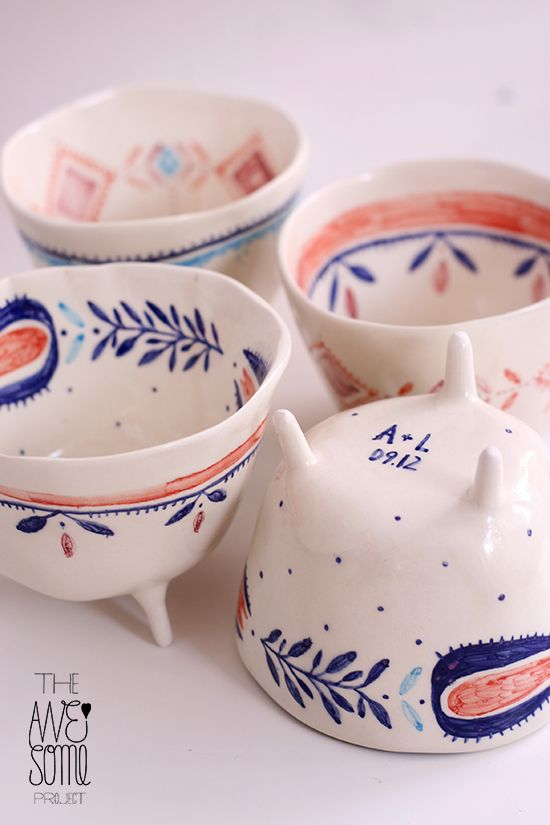 the awesome project 4 porcelain cups, hand decorated with high-temperature underglazes and transparent glaze; dishwasher safe
