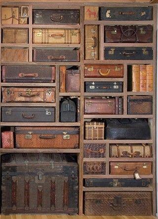 Seriously stylish storageStorage Solutions, Old Trunks, Vintage Suitcases, Vintage Trunks, Old Suitcases, Shelves, Vintage Luggage, Storage Ideas, Antiques
