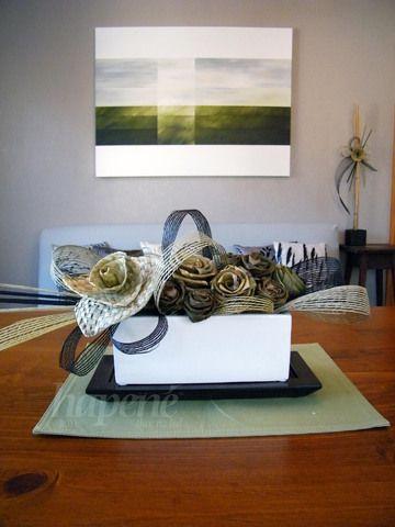 Hepene arrangement including putiputi (flowers) woven with harakeke