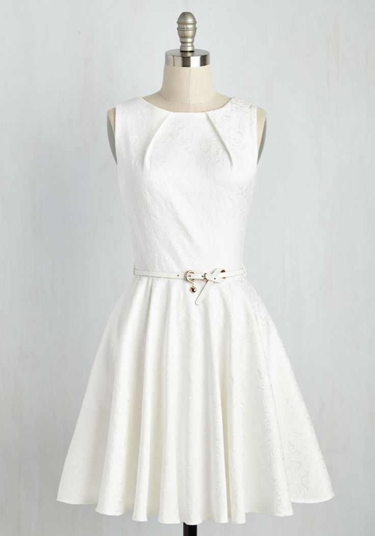 Luxe Be a Lady Dress in White. If youve been searching for a flirty new frock, then youre in luck! #white #wedding #modcloth