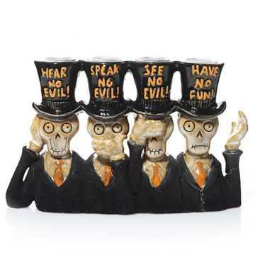 The Boney Bunch has their own motto for Halloween and it's frightfully fun! This delightfully detailed ceramic sculpture is perfectly sized to accommodate four of our Dreadful Drip™ Taper Candles.