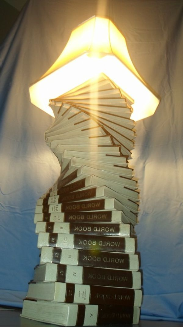 kreative handgemachte Lampen bücher idee