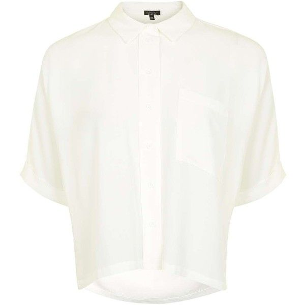 Topshop Short Sleeve Roll Up Shirt ($38) ❤ liked on Polyvore featuring tops, shirts, ivory, white short sleeve shirt, white button up shirt, button up shirts, button up collared shirts and layered tops