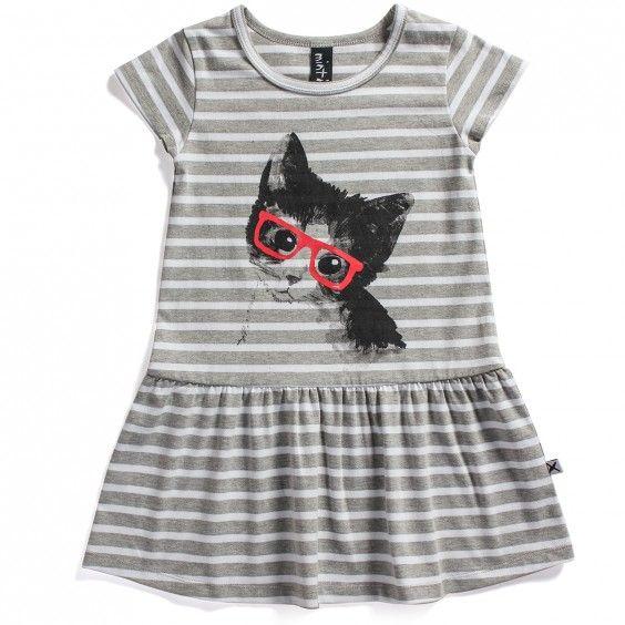 Minti Rose Dress Kitty - Grey Stripe