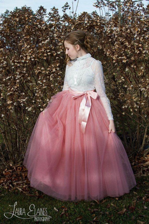 Womens Full lengthTutu Rose roze Tule rok door MaidenLaneBoutique