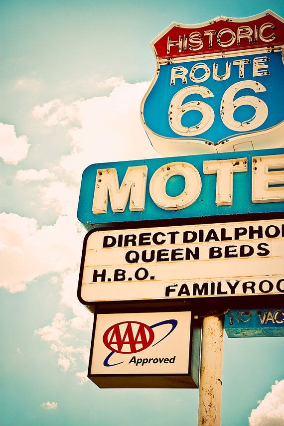 Vintage Historic Route 66 Motel Neon Sign in by RetroRoadsidePhoto, $21.00