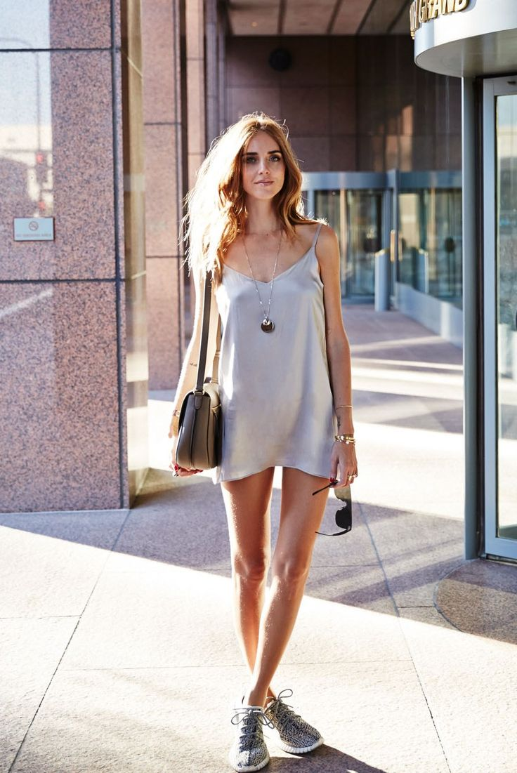 metallic silver slip dress with gray sneakers