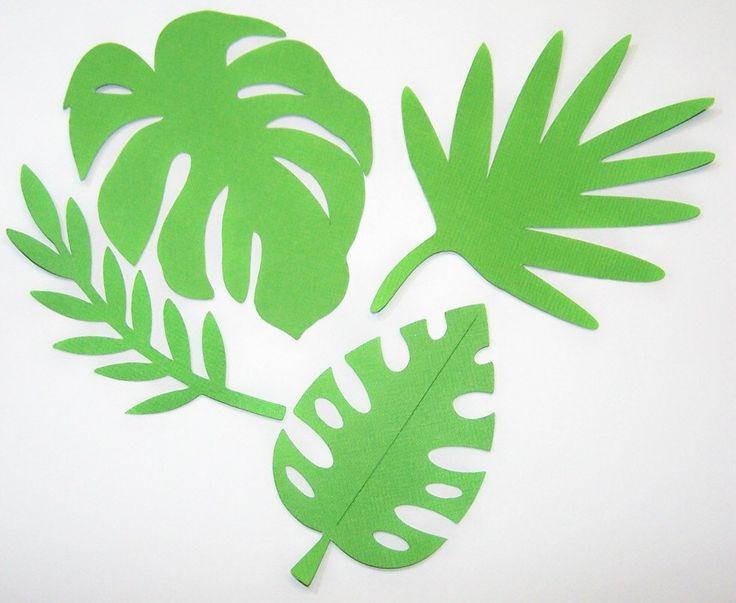 Moldes De Hojas De Las Palmas Para Imprimir: Silhouette White Paper Leaves On Green Background