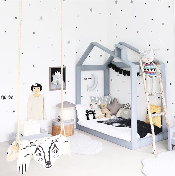 Fun kid's room with a house bed - Who says grey is boring?