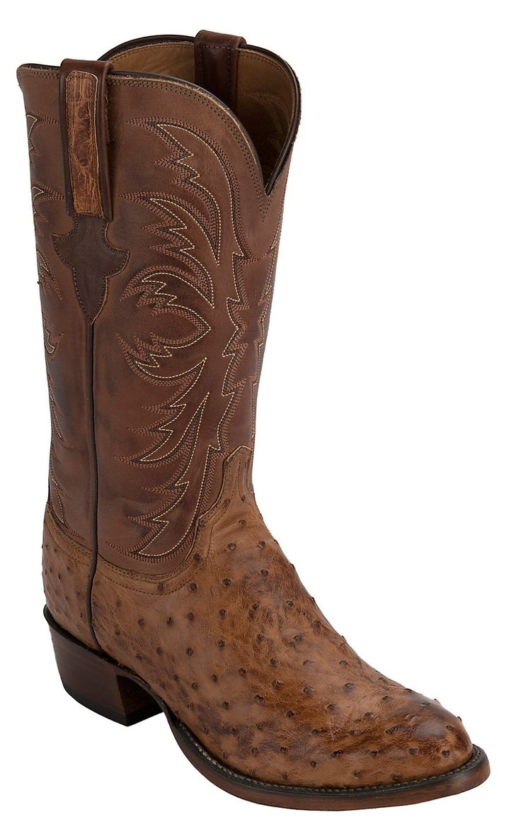 Lucchese 1883 Men's Barnwood Tan Full Quill Ostrich Exotic R-Toe Western Boots
