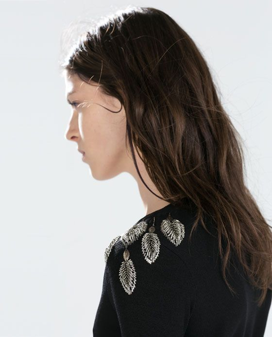 Image 5 of SWEATER WITH JEWELLED LEAVES ON SHOULDER from Zara