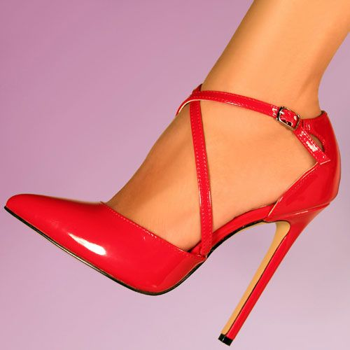 Pleaser Red Criss Cross Strap 26 Fashion Pumps;