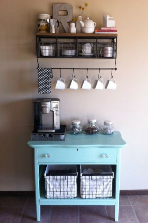 coffee station. love the glass jars of coffee beans, sugar,etc. like the metal shelf for mugs. For guest cabin.