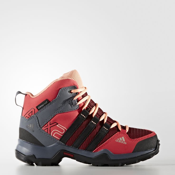 Little trailblazers will plough across terrain in these mid-cut outdoor  shoes. The mesh