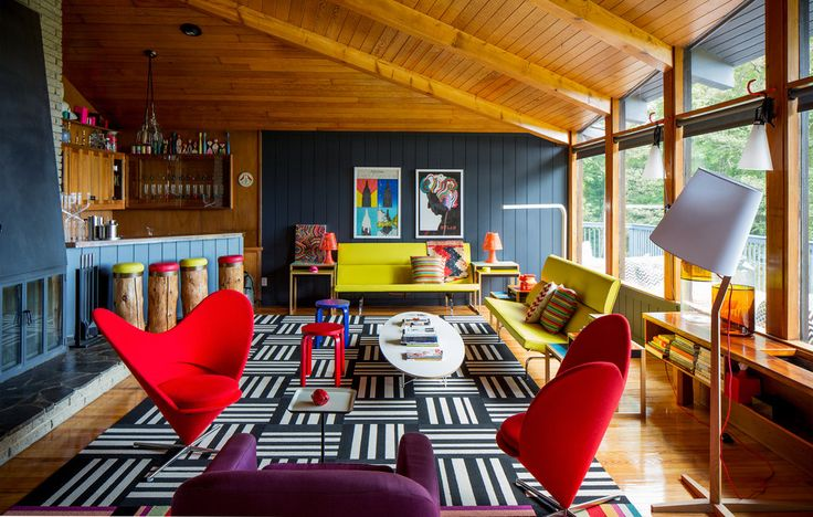 A Colorful Getaway@fab NYTimes.comWeekend Getaways, Orange County, Dreams House, Living Room, Home Bar, Colours Home, New York, Bold Colors, Colours Interiors
