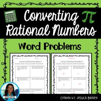 Converting Rational Numbers Word Problems is a sheet with 6 test style questions to help prepare students for testing. This resource is grouped with additional activities in the  Converting Rational Number Activity PackLooking for an entire math course?