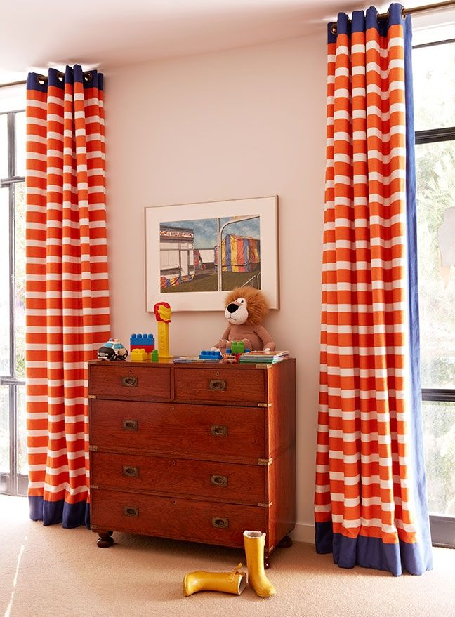 Gives me an idea for curtains - sew a border across top and sides to customize -- Anne Hepfer + Child's Room