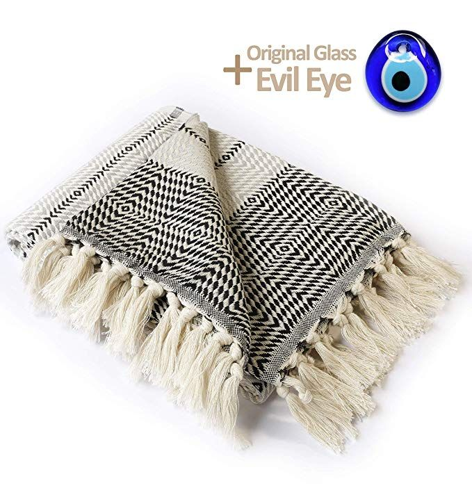 Amazon Com Luxury Throw Blanket With Fringe 100 Cotton 40 X71 For Chair Couch Boho Farmhouse Rustic Dec With Images Luxury Throw Blankets Luxury Throws Throw Blanket
