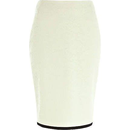 Jupe crayon crème en dentelle appliquée - jupes fourreau - jupes - femme