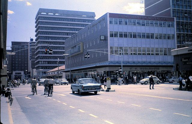 Woolworth's department store on First Street (with a glimpse of the Beverley Building Society's outsized lettering in the distance), Salisbury, Rhodesia (now Harare, Zimbabwe), 1970, photograph by All Hails.