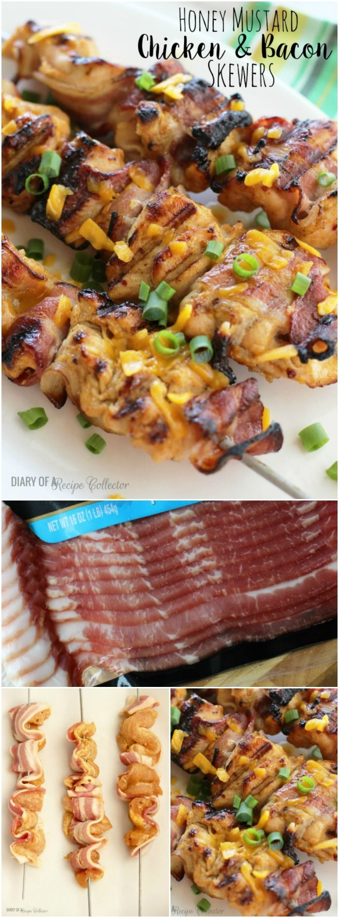 This Honey Mustard Chicken and Bacon Skewers recipe from Diary of a Recipe Collector has the most wonderful honey mustard dressing, delicious Hormel Black Label Bacon, and chicken that is grilled to perfection!