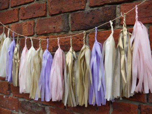 DELYSIA large tassel garland Handmade from pink, lilac, cream, sand and gold tissue   Luxury handmade party decorations Check out our store - paperstreetdolls.etsy.com