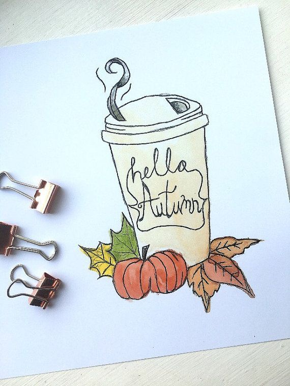 Autumn/Winter 'Hello Autumn' coffee cup illustration | https://www.etsy.com/uk/listing/455758502/autumnwinter-hello-autumn-coffee-cup?ref=shop_home_feat_3