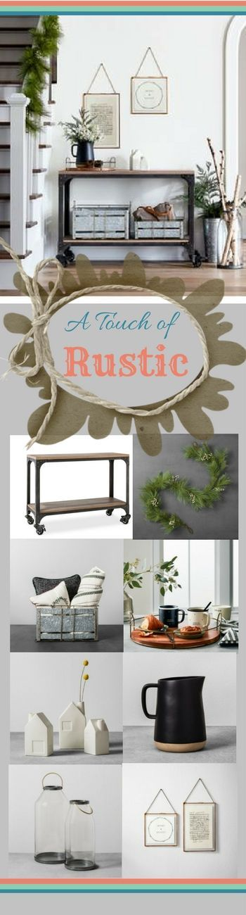 Add a #rustic flair to your #entryway with #MagnoliaHearth&Hand  #design. Mixing textures adds a level of interest and elegance to any space - especially during the holidays. Wood trays, galvanized metal storage bins and faux greenery will make your foyer festive and functional. #rusticHome #farmhouse #sophisticatedHome #home #love #ad