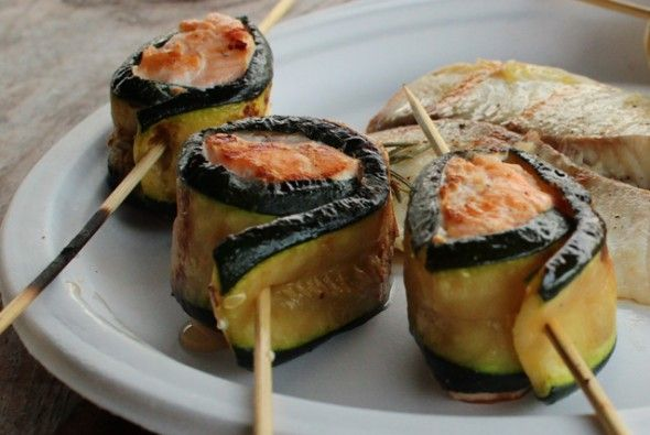 zucchini wrapped salmon cooked on the grill
