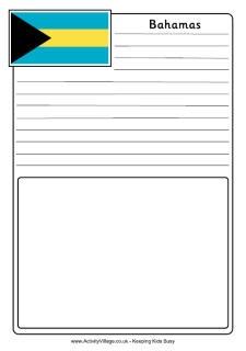 Bahamas flag notebooking page