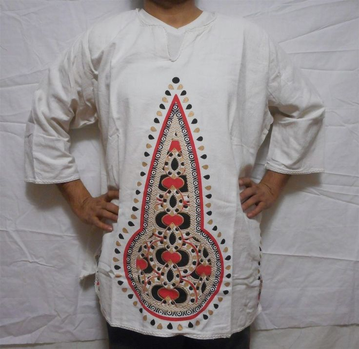 African Dashiki Shirts Mens Vintage Hippie Mud Cloth Boho Tops Blouses One Size #Handmade #Dashikistyle
