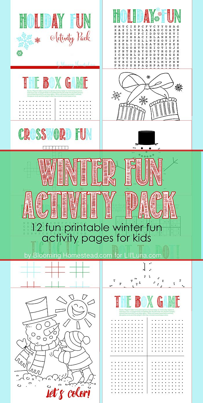 Game with shapes of different colors crossword - Holiday Fun Activity Pack Free Prints For The Kids To Use This Holiday Season Including