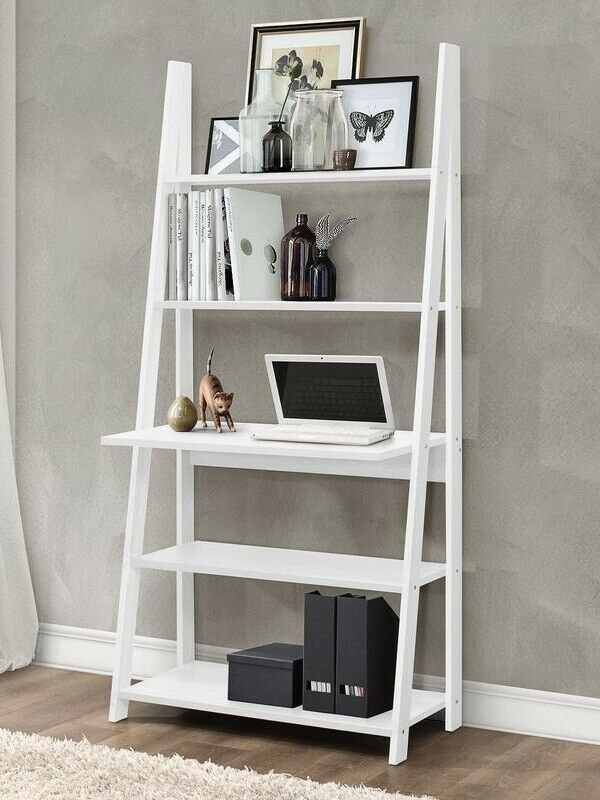 Ladder Desk Writing Computer Pc Table Leaning Bookcase Shelving
