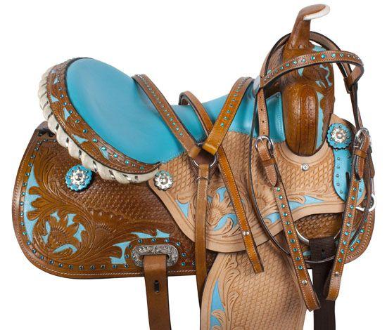 Blue Crystal Inlay Barrel Racing Western Horse Saddle 14 16