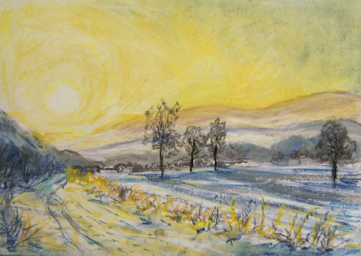 Winter morning meadow, pastel drawing, http://borka-art.blogspot.com