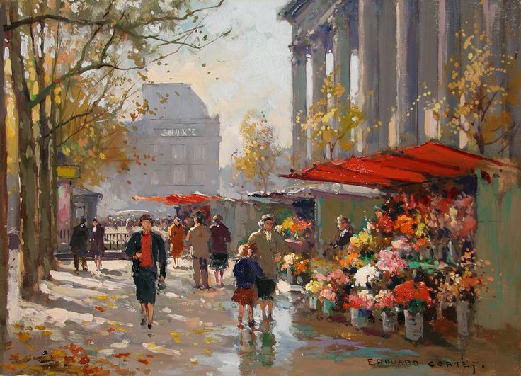 """Flower Seller at La Madeleine"" - by    Edouard Cortes"