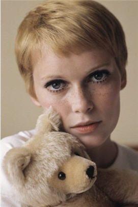 Mia Farrow with Steiff teddy