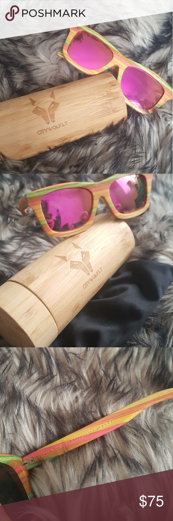 City Wolf Wayfarers Real bamboo wayfarer sunglasses Bought but never worn  Comes with cylindrical bamboo case and dust bag Style no longer being sold Accessories Sunglasses