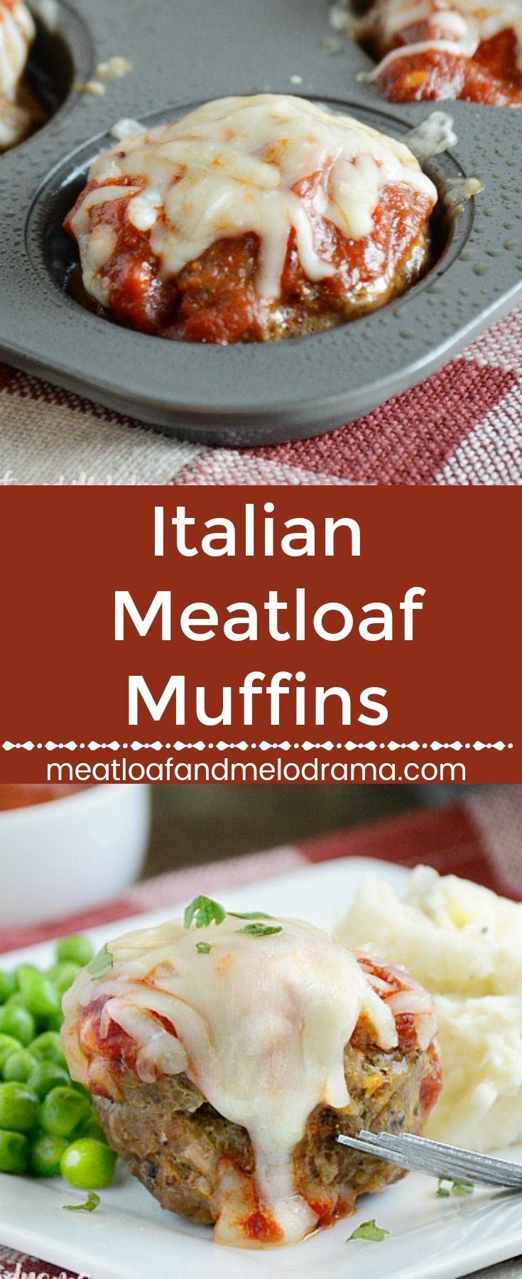 Italian Meatloaf Muffins - A quick and easy dinner! Mini meat loaves made in a muffin tin and topped with marinara sauce and mozzarella cheese. Ready in 30 minutes and perfect for busy days. #easyrecipe #quickandeasydinner #comfortfood