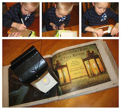 "Read Longfellow's ""The Midnight Ride of Paul Revere."" Then make a lantern out of an OJ carton, vellum, duct tape, wire, and flameless tealight."