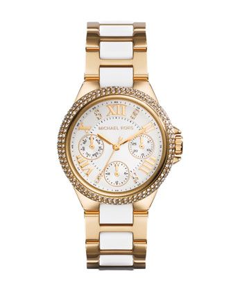 Michael Kors Mini Golden/Acetate Stainless Steel Camille Chronograph Glitz Watch.