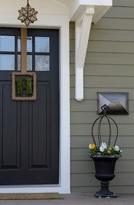Inspiration for our exterior paint color... The color is Crownsville Grey by Ben Moore and trim is White no tint by Sherwin Williams! I also love the lighting fixture!
