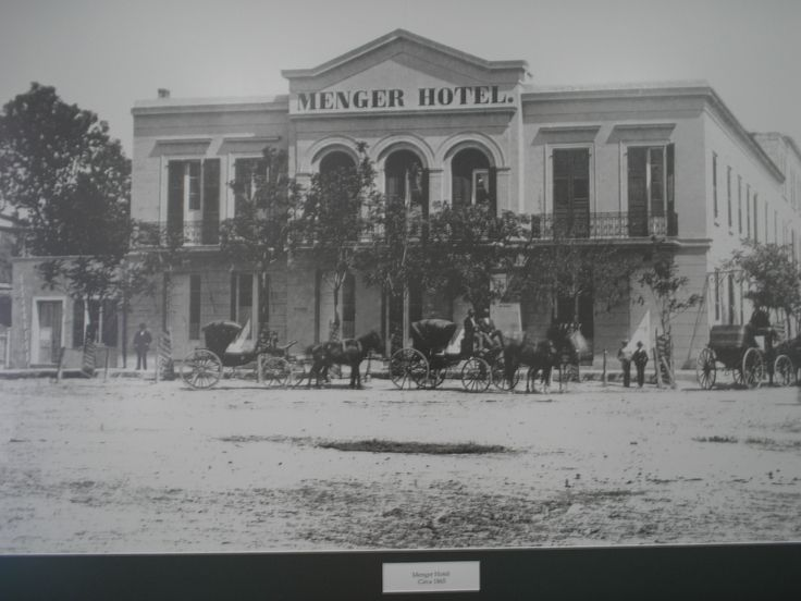 The Menger Hotel, San Antonio, Texas, late 1800s. Still open today. The Alamo isn't shown in the photo, but is located mere steps away to the left of the hotel.