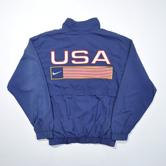 4b94e81d76f72 Rare Vintage 80s 90s NIKE USA TEAM Windbreaker Tracksuit / Nike United  States Track Field Athlete Jacket / Retro Nike Streetwear Old school