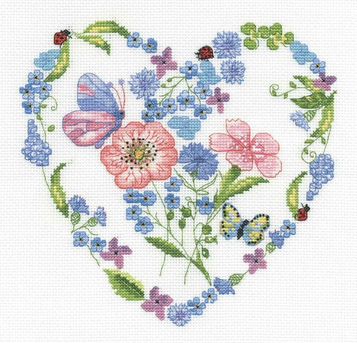Floral Heart Cross Stitch Kit - £16.50 on Past Impressions | This cross stitch kit by DMC fills a heart frame with a full nursery's worth of beautiful plant designs.